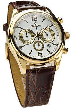 croton men s chronograph gold tone watch genuine leather croton men s gold chronograph strap cc311236bgdw