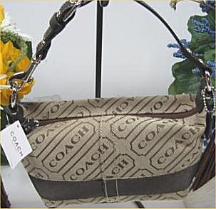b63567c137cb 100% Authentic Coach Signature Lozenge Brown   Khaki Small Pouch Purse - Brand  New with tags - Brown Leather handle with silver hardware details