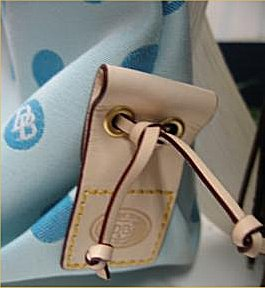42f3e0cfc298 100% Authentic Dooney   Bourke Tassel Top Zip Handbag - Light Blue Canvas  with Turquoise Polka Dots and DB Signature Logo
