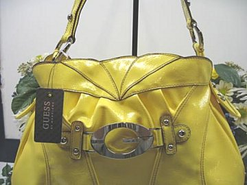 76e898ad8465 100% Authentic GUESS by Marciano Large Mallory Bag - Bright Yellow Patent  Leather - Shiny Silver Hardware and details - Style number  V4036301