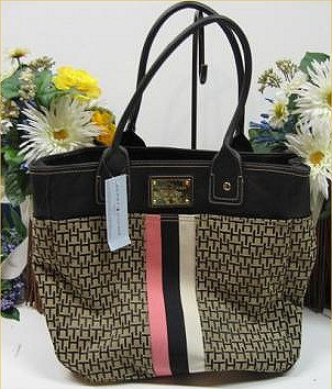 be997ecb0be5 100% Authentic Tommy Hilfiger Large Tote - Brand New with tags - Black  Leather Trim and handle over TH signature jacquard with pink