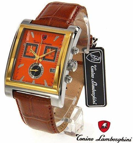 Tonino Lamborghini Watch >> Tonino Lamborghini Two Tone Gold Plated Chronograph Brown Leather Strap Watch